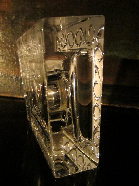 Marquise Waterford Crystal Germany Desk Clock Floral Design - Designer Unique Finds