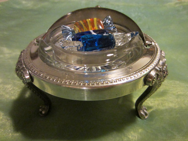 Silver Plated Roll Top Crystal Insert Caviar Server English Paws Lion Medallions - Designer Unique Finds