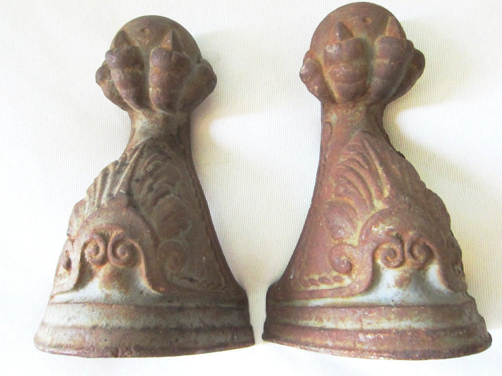 Architectural Rustic Cast Iron Ball Claw Bookends Decorative Elements - Designer Unique Finds