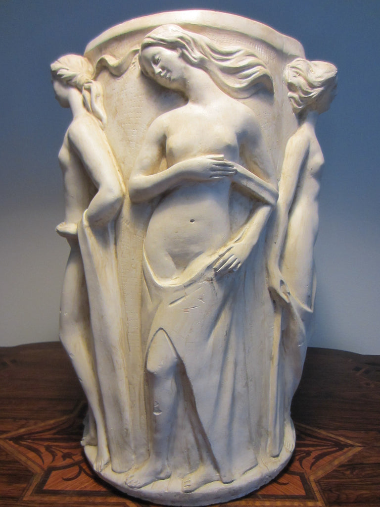 Umbrella Stand Hand Cast Plaster Aphrodite Parian Figures Artist Signed - Designer Unique Finds
