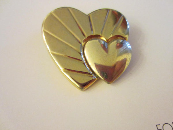 Loris Azzaro Golden Hearts Signed Brooch - Designer Unique Finds