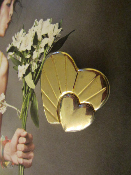 Loris Azzaro Hearts Golden Brooch Silver Accent - Designer Unique Finds   - 1