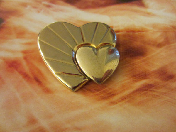 Loris Azzaro Hearts Golden Brooch Silver Accent