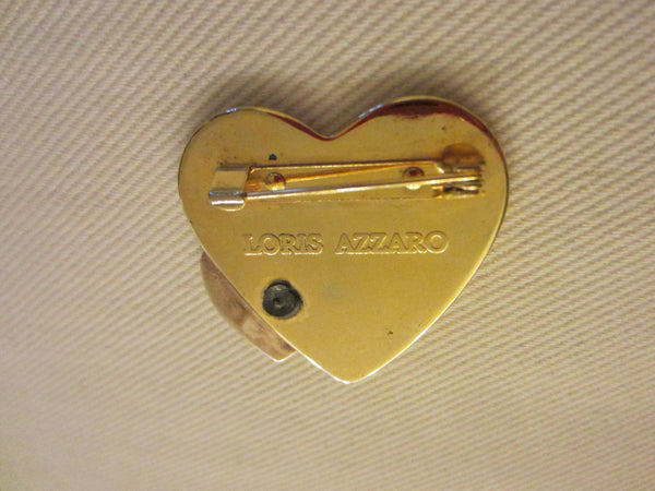 Loris Azzaro Hearts Golden Brooch Silver Accent - Designer Unique Finds   - 4