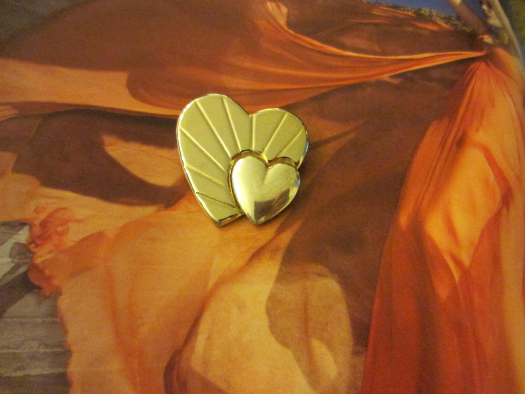 Loris Azzaro Hearts Golden Brooch Silver Accent - Designer Unique Finds