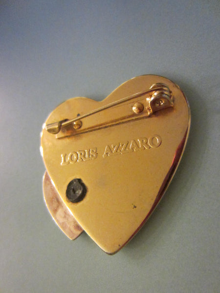 Loris Azzaro Hearts Golden Brooch Silver Accent - Designer Unique Finds   - 2