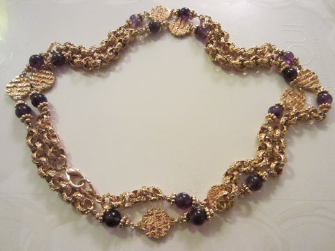 St John Designer Lavender Glass Brass Coin Chain Necklace - Designer Unique Finds