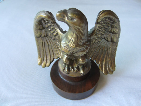 Bronze Eagle Candle Holder On Mahogany Stand