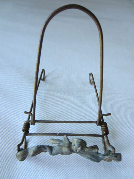 Miniature Angel Gilt Bronze Wire Easel Display Signed By Artist - Designer Unique Finds