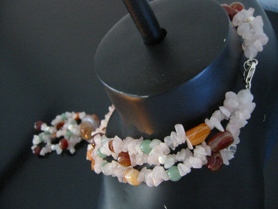 Rose Cut Carnelian Quartz Multi Strands Necklace Decorative Beads - Designer Unique Finds   - 5