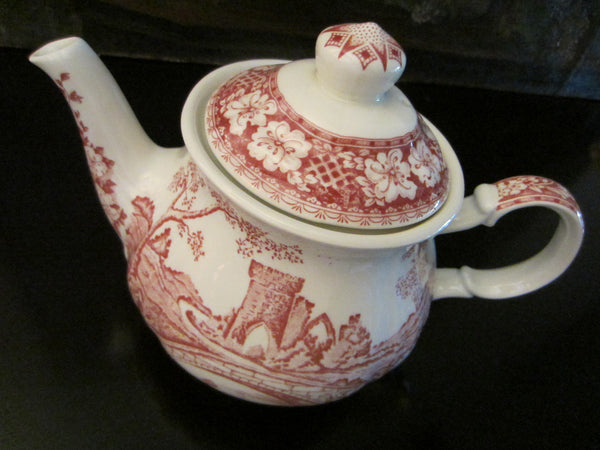 Sadler Windsor England Bisque Teapot Red Countryside - Designer Unique Finds   - 1