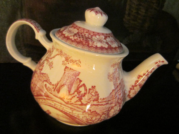 Sadler Windsor England Bisque Teapot Red Countryside - Designer Unique Finds   - 2