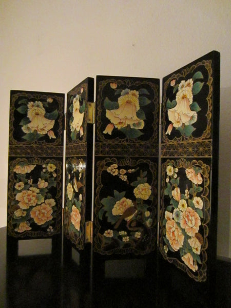 Quarterfold Chinese Black Lacquered Panels Dual Sided Signed Tea Screen W Calligraphy - Designer Unique Finds