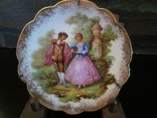 A Limoges Romantic Porcelain Plate Enameled Decorated Signed Fragonard - Designer Unique Finds   - 1