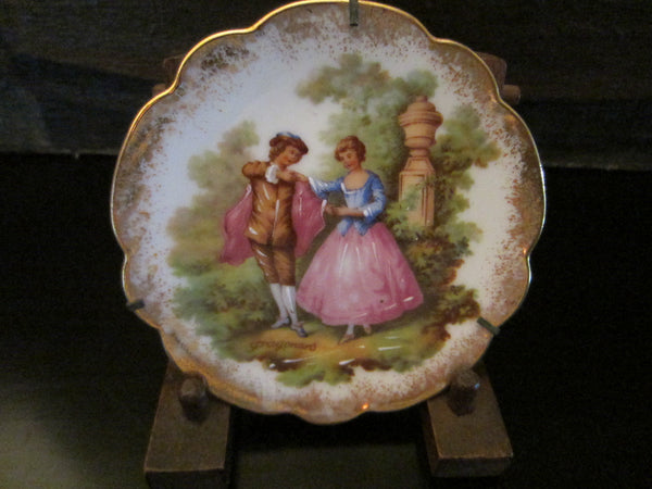 Limoges Romantic Signed Fragonard Porcelain Small Plate - Designer Unique Finds