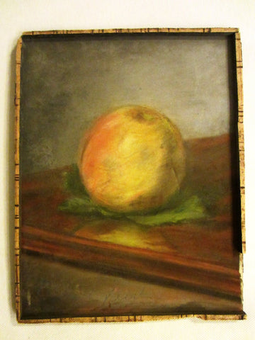 Impressionist Peach Pastel On Board Still Life Fruit Signed By French Artist - Designer Unique Finds