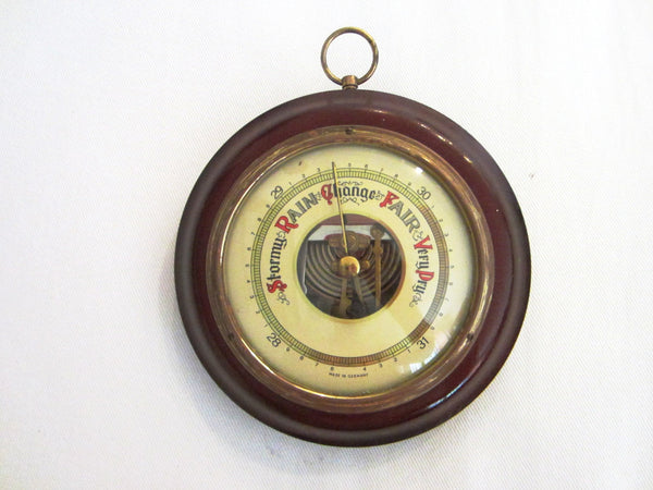Mahogany Case Wall Barometer Germany Brass Hardware - Designer Unique Finds