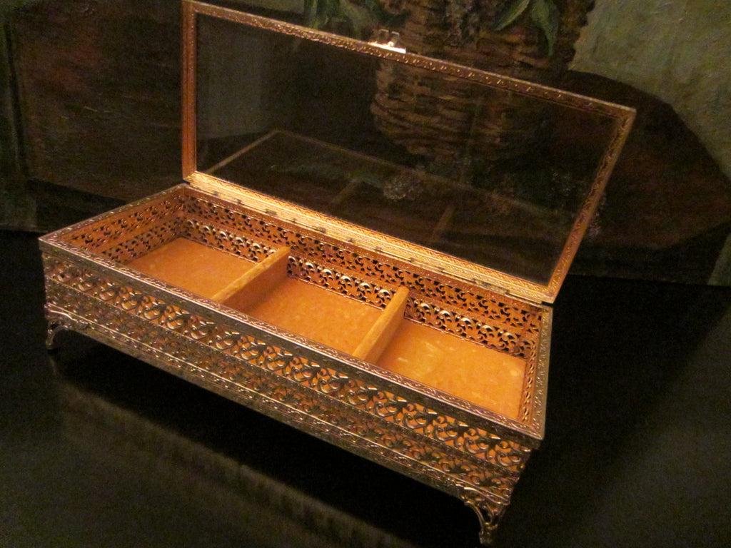 Ormolu Filigree Jewelry Box Mid Century Brass Sectional Beveled Glass - Designer Unique Finds