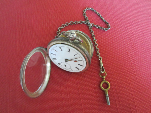 William Ehrhardt Birmingham Antique Silver Pocket Watch With Chain - Designer Unique Finds