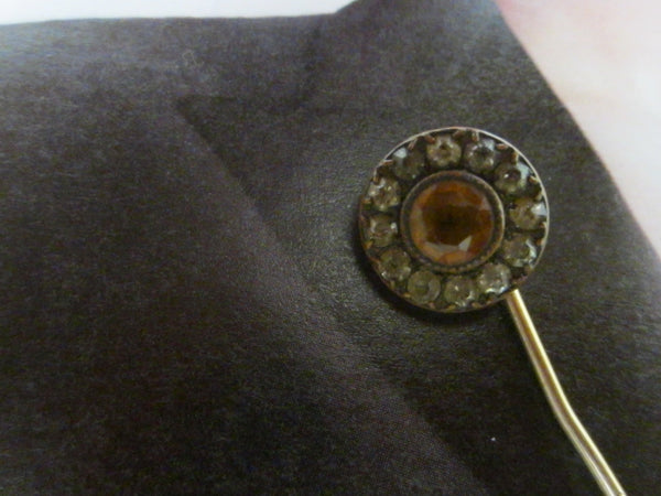 Lapel Stick Pin Gold Plated Designed Rhinestones - Designer Unique Finds