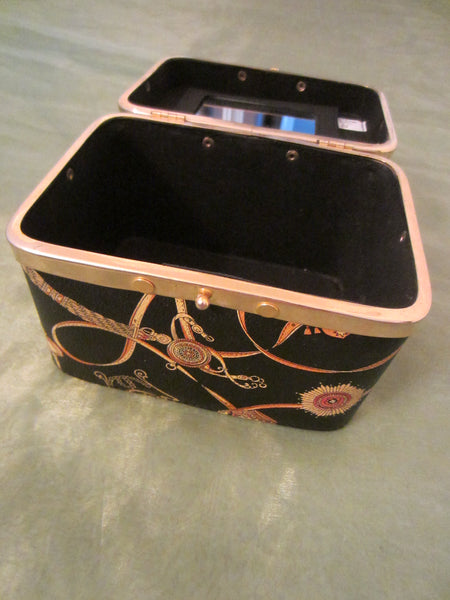 Black Vinyl Mirrored Train Case Made by Cia Tango Creation - Designer Unique Finds