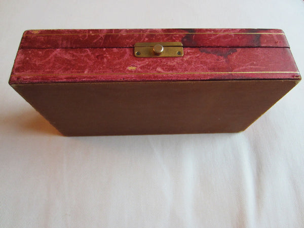 Italy Hand Decorated Composition Leather Jewelry Box Eagle Crest Coat of Arm - Designer Unique Finds