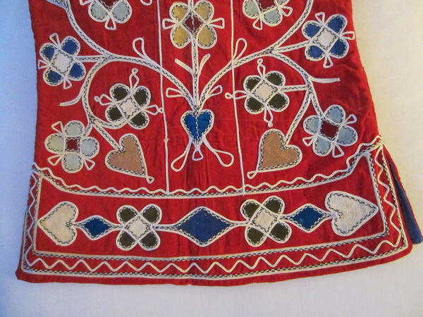Hand Embroidered Red Velvet Vest Decorated Hearts Flowers Made In Pakistan - Designer Unique Finds