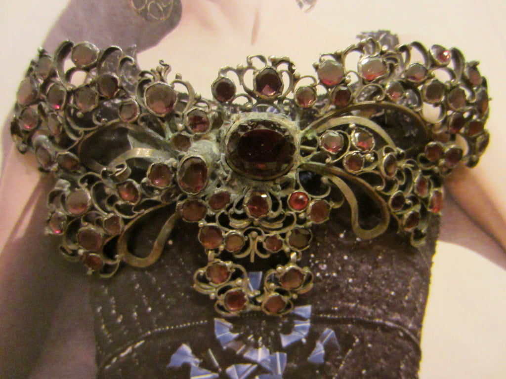 Spanish Revival Victorian Butterfly Brooch Red Garnet Cabochon - Designer Unique Finds   - 1
