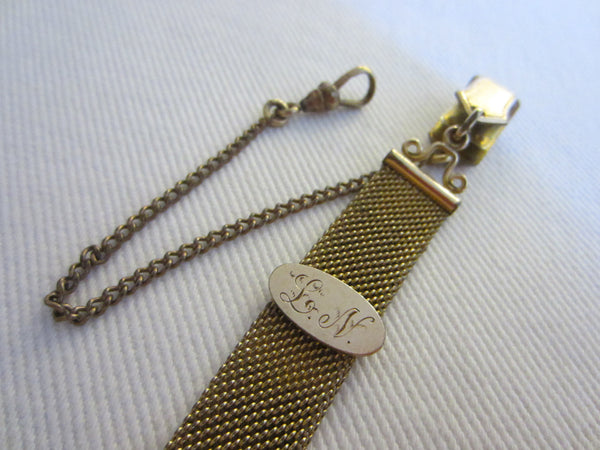 Victorian Watch Fob Gold Plated Mesh Link Chain Monogram - Designer Unique Finds