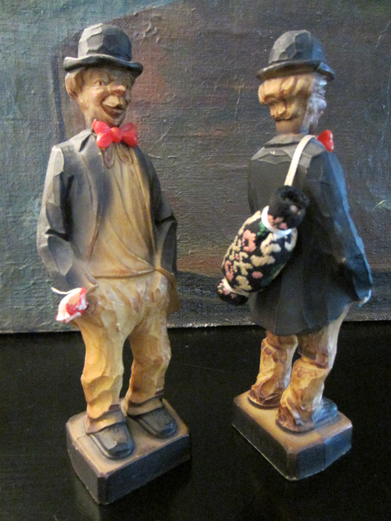 Germany Twins Hand Carved Art Deco Wood Figurines - Designer Unique Finds   - 1