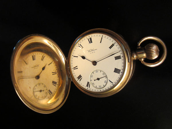 Waltham Hunter Pocket Watch Gold Plated Marquis Triple Case Moon Face 15 Jewels - Designer Unique Finds