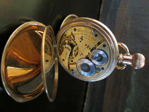 Waltham Hunter Pocket Watch Gold Plated Triple Case Moon Face - Designer Unique Finds   - 3