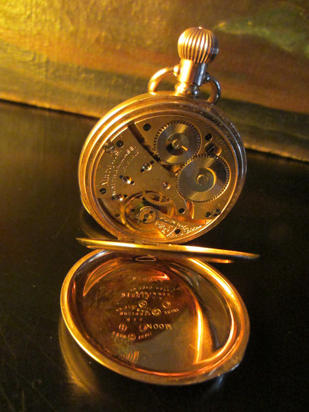 Waltham Hunter Pocket Watch Gold Plated Triple Case Moon Face - Designer Unique Finds   - 4