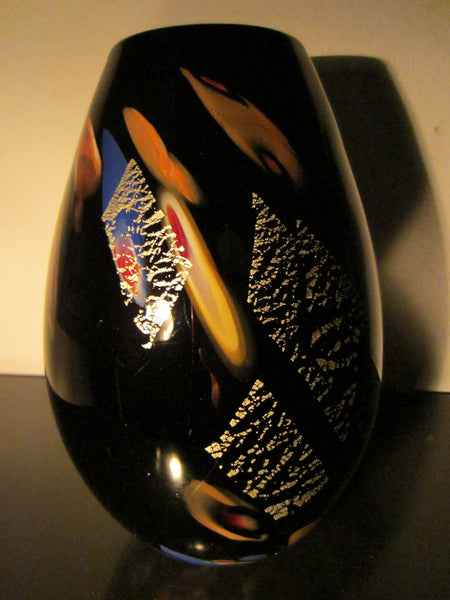 Dino Martens Murano Black Glass Vase Abstract Gold Inclusion - Designer Unique Finds   - 7