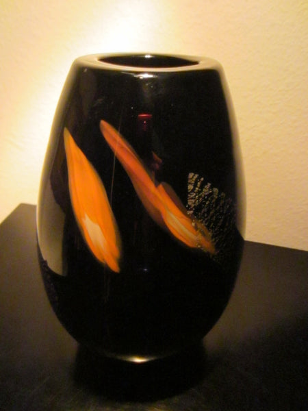 Dino Martens Murano Black Glass Vase Abstract Gold Inclusion - Designer Unique Finds   - 5