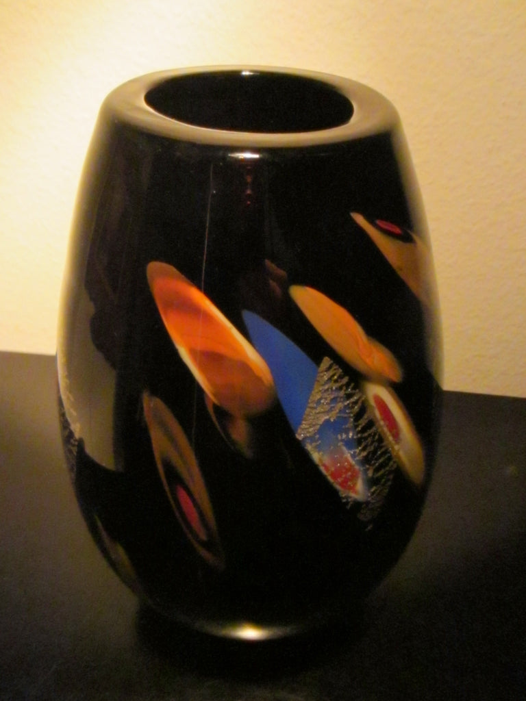 Dino Martens Murano Black Glass Vase Abstract Gold Inclusion - Designer Unique Finds   - 1