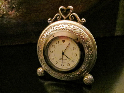 A Brighton Heart Pewter Desk Clock Embossed Miniature Quartz