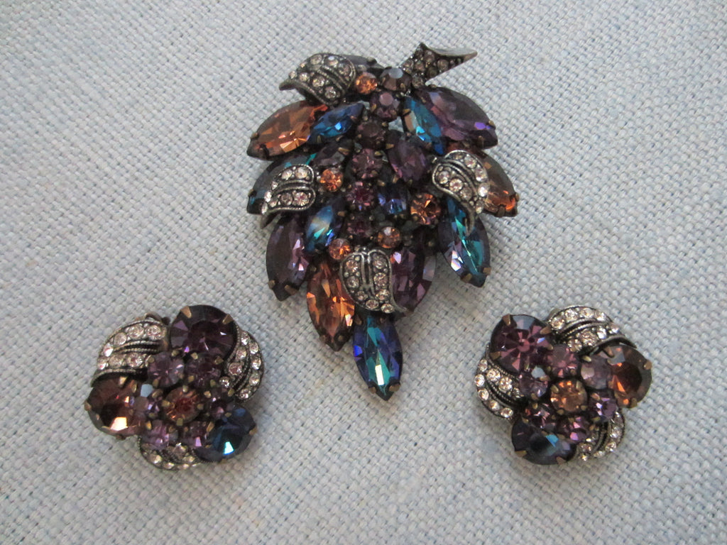 Weiss Parure Brooch Earrings Aurora Borealis Long Stem Flower - Designer Unique Finds   - 2