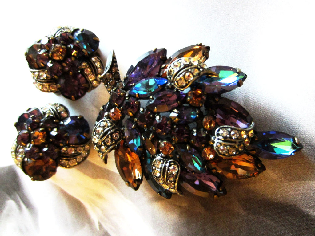 Weiss Parure Brooch Earrings Aurora Borealis Long Stem Flower - Designer Unique Finds   - 1