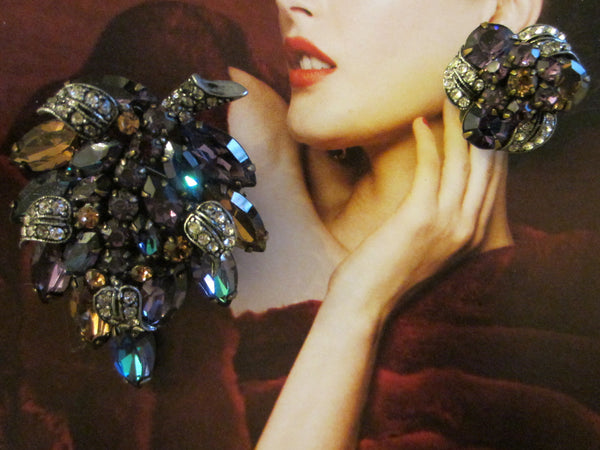Weiss Parure Brooch Earrings Aurora Borealis Long Stem Flower - Designer Unique Finds   - 3