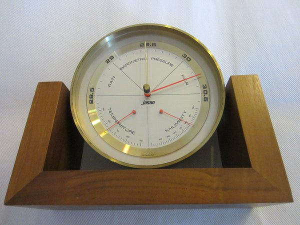 Jason Swivel Barometer Thermometer Mahogany Stand Made In Germany - Designer Unique Finds   - 3