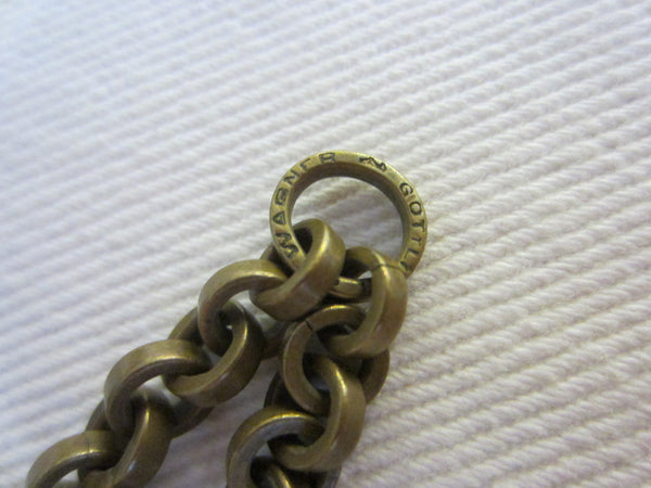 Wagner Gottlieb Victorian Brass Watch Fob Fancy Motif Link - Designer Unique Finds