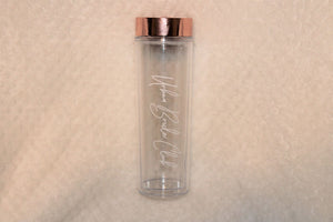The Clear View 16oz tumbler is available with gold, silver or rose gold top and available for FREE personalization
