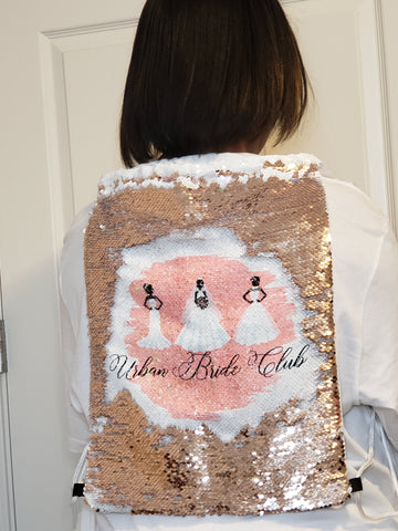 Reversible Rose Gold Sequined Drawstring Backpack