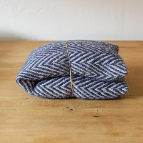 Merino Wool Heat Pack Herringbone Navy Lavender