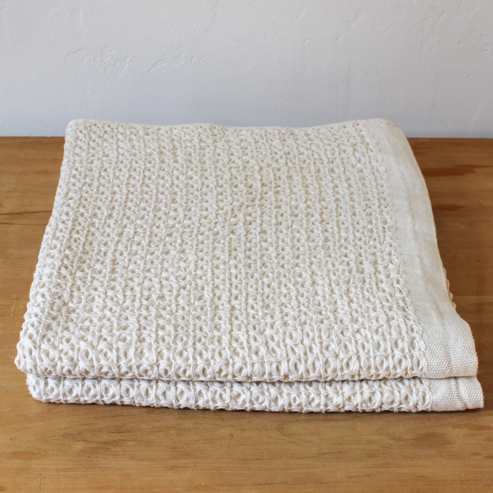 Cotton Linen Waffle Beige Extra Large