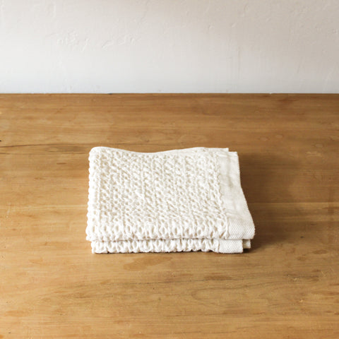 Cotton Linen Waffle Ivory Wash Cloth
