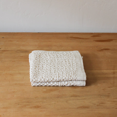 Cotton Linen Waffle Beige Wash Cloth