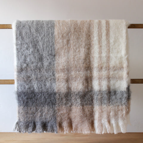 Australian Alpaca Connection Throw Brushed Grey//Rose Check