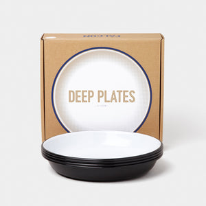 Enamel Deep Plate Box of 4 Coal Black